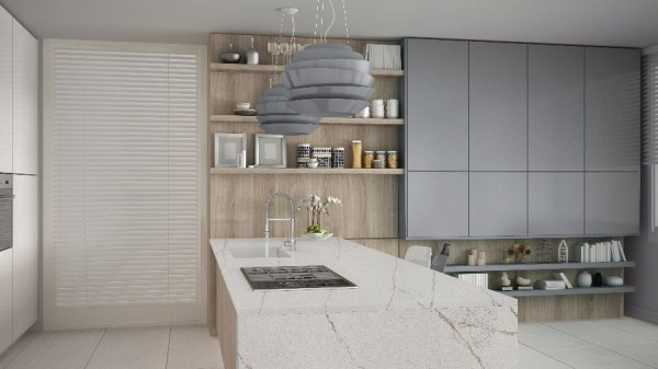 Minimalistic white kitchen with wooden and gray details, minimal interior design