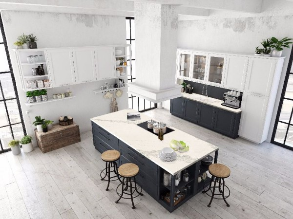 3D rendering of modern kitchen in a loft. top view